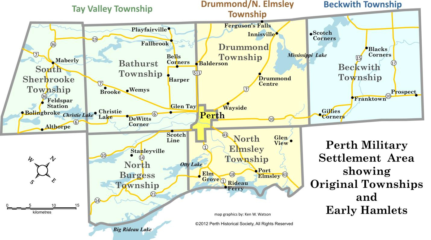 Perth Military Settlement Area showing original townships and early hamlets